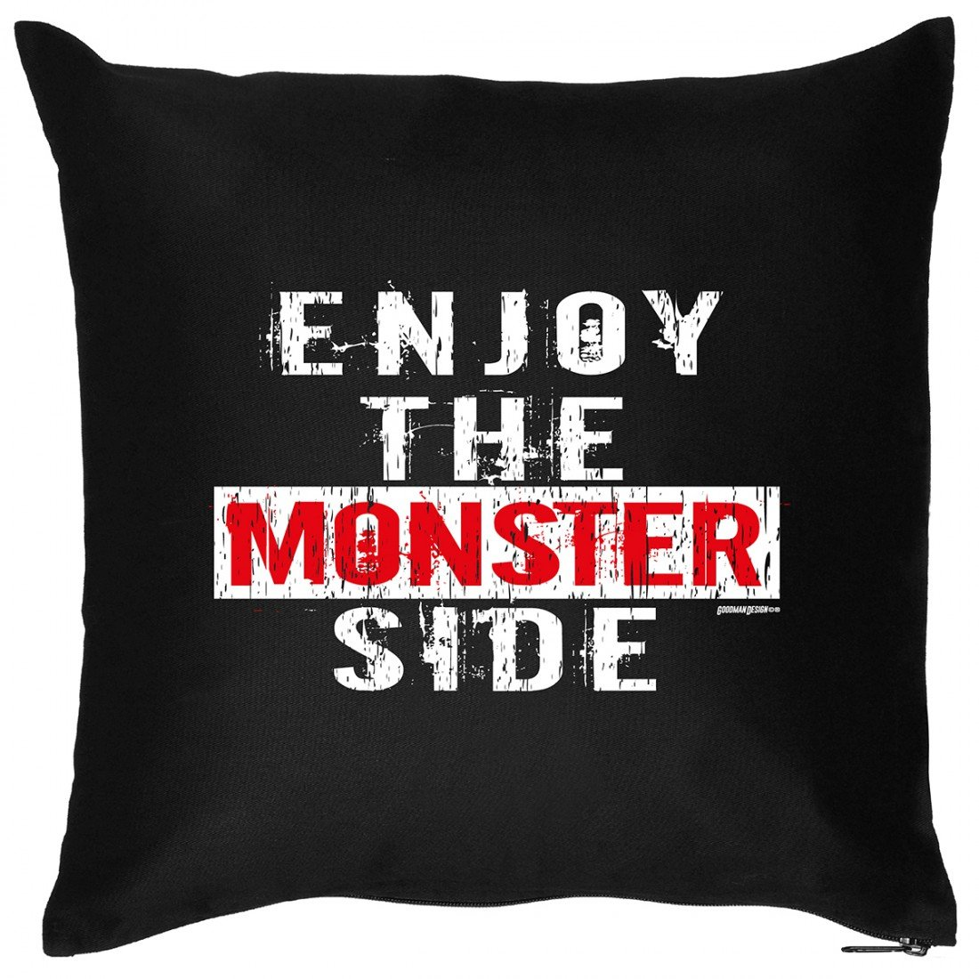 Kissen Sofakissen mit Aufdruck – Enjoy the Monster side – Horror Zombie Hexe Grusel Spuk Geister Geschenk – Wendekissen bestellen