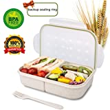 Bento Box for Kids Lunch Box Lunch Container for Adults, Leak Proof Bento Lunch Container, BPA Free Kids Bento Box, Portion Control Containers, Wheat Fiber Safe Healthy (Color: Clear, Tamaño: rectangle)