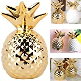 Pineapple Coin Piggy Bank Ceramic Pineapples Shape Save Money Cans Decorative Money Box for Home Bedroom Party Decorations Valentine's Day Kid's Birthday Gifts (Gold)