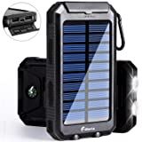 Solar Charger 10000mAh Power Bank, F.DORLA Outdoor Portable Charger Solar Phone Charger Dual USB External Battery Pack with Flashlight Solar Panel Cha