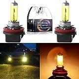 cciyu High Performance H11 3000K Golden Yellow Xenon HID Halogen Headlight Bulbs- Low Beam(Pack of 2pcs)
