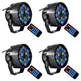Stage Lights,SAHAUHY RGBW 18 Led Par Lights Sound Activated DMX Color Mixing Dj Lights Up Lighting with Remote (Four Party Lights Christmas) (Color: 12P Not Remote)