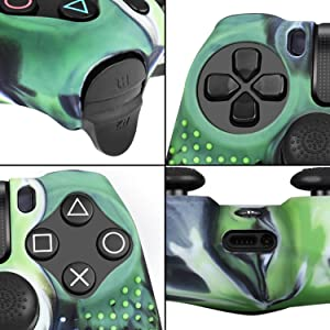 TNP PS4 / Slim/Pro Controller Skin Grip Cover Case Set - Protective Soft Silicone Gel Rubber Shell & Studded Anti-Slip Thumb Stick Caps for Sony Playstation 4 Controller Gaming Gamepad, Mystic Green