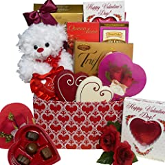 Whole Lot of Love, Hugs and Kisses Chocolate and Candy Gift Box with Teddy Bear - Valentine