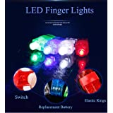 SUNMALL Rave Finger flashlights, 70 pcs Magic LED Super Bright Pointers Lacer Finger Beam Lights Bulk Light up Rings Strap on LED Fingers Toys Party Favor (70pcs Finger Lights) (Color: 70pcs Finger Lights)
