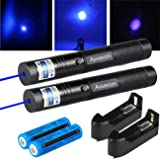 LOT 2 Pc 200 Miles Blue Purple Pointer 405nm Visible Beam 18650 Battery Charger Control Pen Projector Travel Outdoor Flashlight LED Interactive Bar Interesting Toy Teaching Astronomy