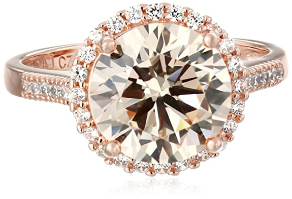 Rose-Gold-Plated-Sterling-Silver-Champagne-and-White-Cubic-Zirconia-Halo-Ring-Size-7