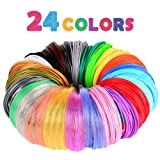 3D Pen/3D Printer Filament,1.75mm PLA Filament Pack of 24 Different Colors,High-Precision Diameter Filament, Each Color 10 Feet, Total 240 Feet Lengths by Mika3d (Color: 24 Different Colors, Include 3 Metal Colors, 6 Transparent Colors and 15 Unique colors, Tamaño: M)