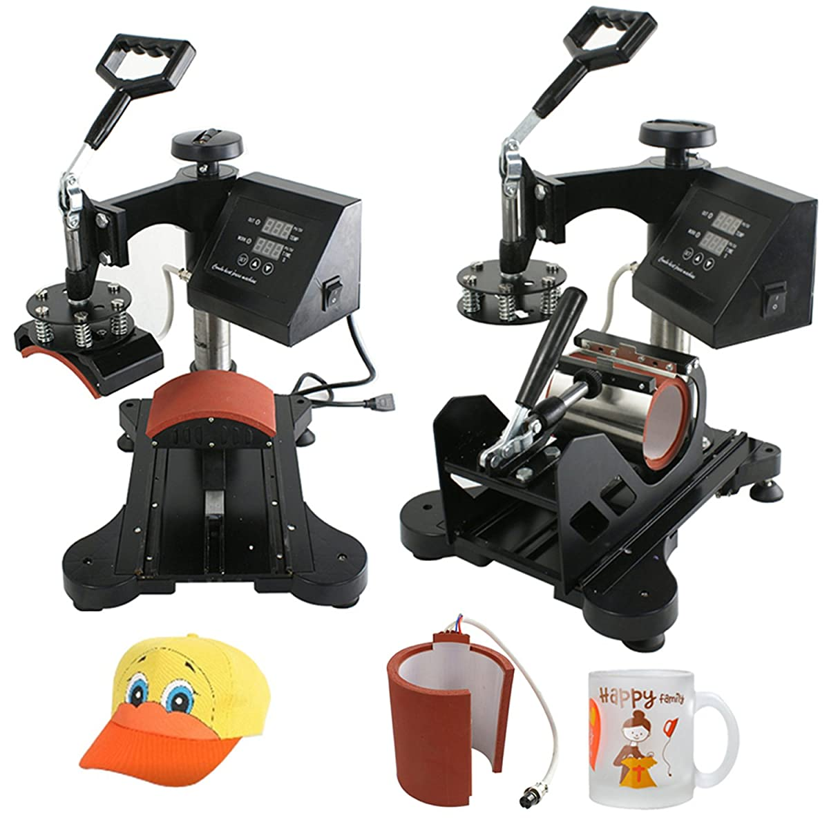 F2C Pro 5 in 1 Digital Transfer Sublimation Heat Press Machine Hat/Mug/Plate/Cap/T-shirt Multifunction New Black(5 in 1)