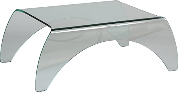 Tavolino Vetro Temperato rettangolare curvo 4piedi