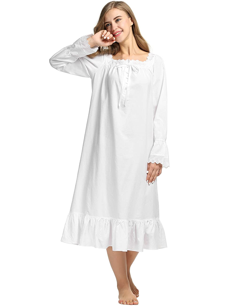 Avidlove Womens Cotton Victorian Nightgowns Romantic Long Bell Sleeve Nightshirt 2