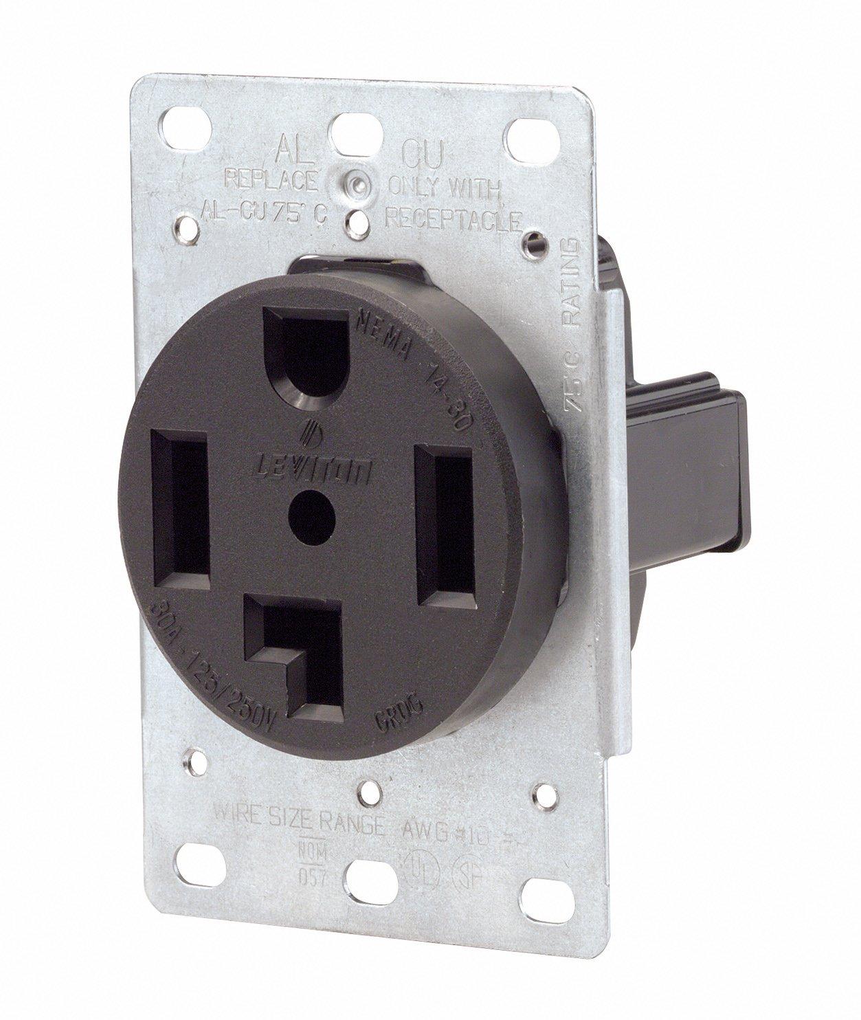 Receptacle Wiring 220 Volt 4 Wire: Leviton 071-00278-000 4 Wire 30 Amp 250 Volt Flush Mount