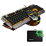 LexonElec@ V1 Keyboard Mouse Combo Gamer Wired Orange Yellow LED Backlit Multimedia Ergonomic Metal Pro Gaming Keyboard + 3200DPI 6 Buttons Mouse + Mouse Pad for PC (Black Silver & Yellow Backlit) (Color: Black Silver & Yellow Backlit)