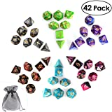 iBaseToy Polyhedral D&D Dice Set 6 x 7-Die for Dungeons and Dragons Table Games, New Year Gift