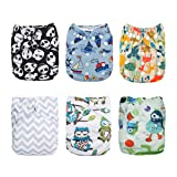 ALVABABY 6pcs Pack Fitted Pocket Cloth Diaper with 2 Inserts Each (Boy Color) 6DM12 (Color: Boy Color, Tamaño: All in one)