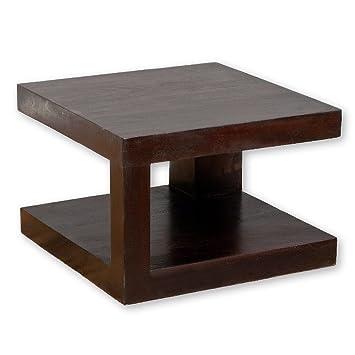Couchtisch SHIVA Dark-Brown-A 60x60cm Akazie Massivholz Beistelltisch Wohnzimmer