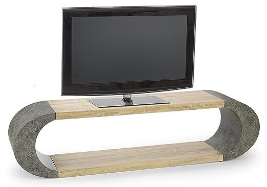 Waschtisch TV Design–Eiche Hellgrau/Grau Beton