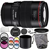 Canon EF 100mm f/2.8L Macro IS USM Lens Accessory Bundle - Includes Manufacturer Accessories + 3 Piece Filter Kit (UV + CPL + FLD) + MORE (Renewed)