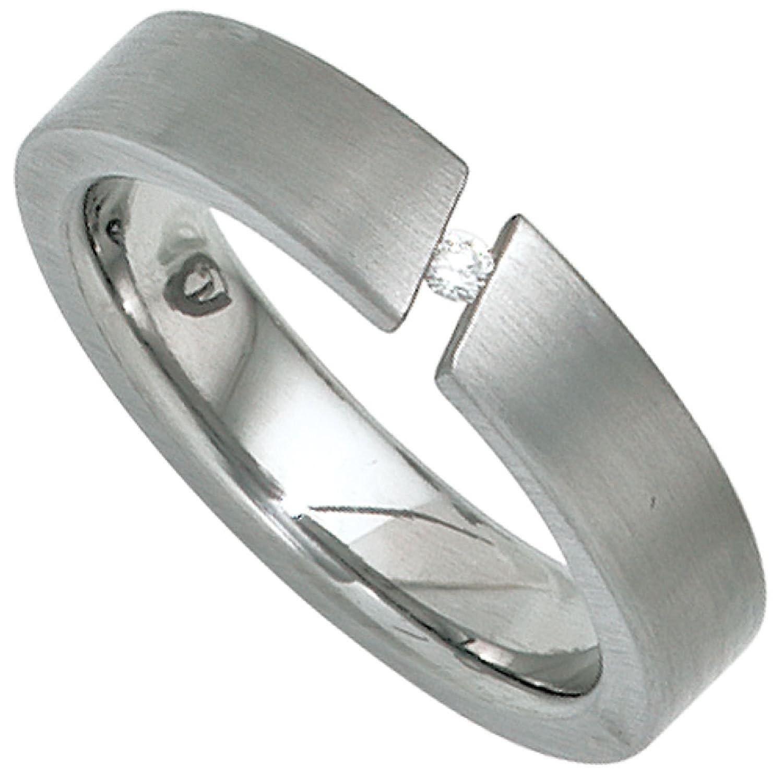 Damen-Ring Edelstahl 1 Diamant-Brillant
