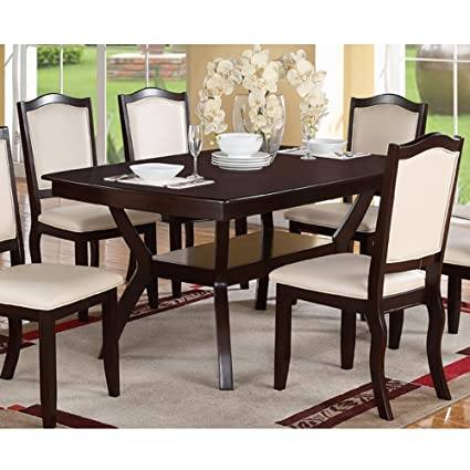 Modern Rectangular Wood 7 PC Dining Table and Chairs Set