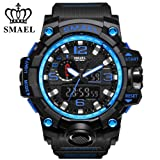 SMAEL Men's Sports Analog Quartz Watch Dual Display Waterproof Digital Watches with LED Backlight relogio masculino (Black Blue)