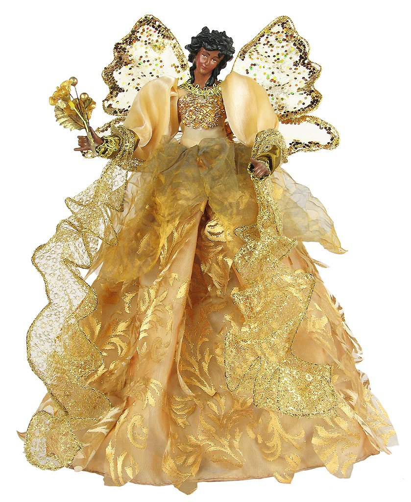 Small Angel Christmas Tree Topper: African American Unlit Angel Tree Toppers
