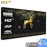 Projection Screen 100 inch 16:9 HD Foldable Anti-Folding Portable Projector Movie Screen for Home Theater Outdoor Indoor Support Double-Sided Projection-Koogoo(100 inch) (Tamaño: 100 inch)
