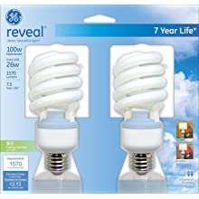 GE Lighting 75413 26-Watt CFL Spiral Reveal Light Bulb, 100-Watt Equivalent, 2-Pack