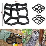 go2buy 2 Pack Plastic Pathmate Walk Way Paver Concrete Stone Mould Paving Mold Black (Color: Black, Tamaño: 2 pcs)