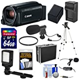 Canon Vixia HF R800 1080p HD Video Camera Camcorder (Black) with 64GB Card + Battery & Charger + Hard Case + Tripod + LED Light + 2 Microphones Kit (Color: Black)