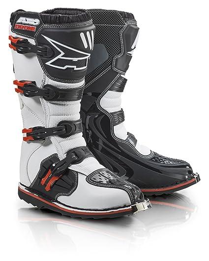 AXO MX2R0023-WR Drone Bottes de Motocross, Taille 47, Blanc/Rouge