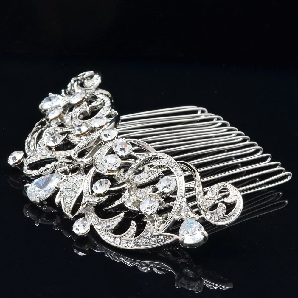 Sepjewelry 2253R Vintage Style CZ Rhinestone Hair Comb Pin Clip 2