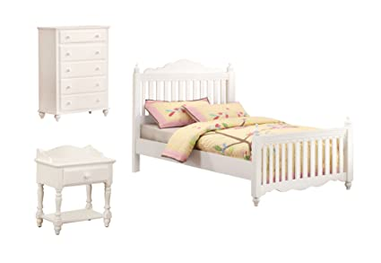 Furniture of America Bethany Anne 3-Piece Picket Fence Style Bed Set with Nightstand and Chest, Twin, White Finish