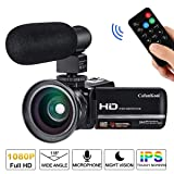 Video Camera Camcorder for YouTube CofunKool Full HD 1080P Vlogging Digital Camera 24.0MP Night Vision 16X Digital Zoom with External Microphone Wide Angle Lens (Color: Camera+Microphone+Wide Angle Lens+Remote Control, Tamaño: Camera+Microphone+Wide Angle Lens+Remote Control)