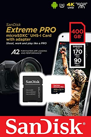 SanDisk 400GB Micro SDXC Extreme Pro Memory Card Bundle Works with GoPro Hero 7 Black, Silver, Hero7 White UHS-I A2 (SDSQXCZ-400G-GN6MA) Plus (1) Everything But Stromboli (TM) 3.0 Micro/SD Card Reader