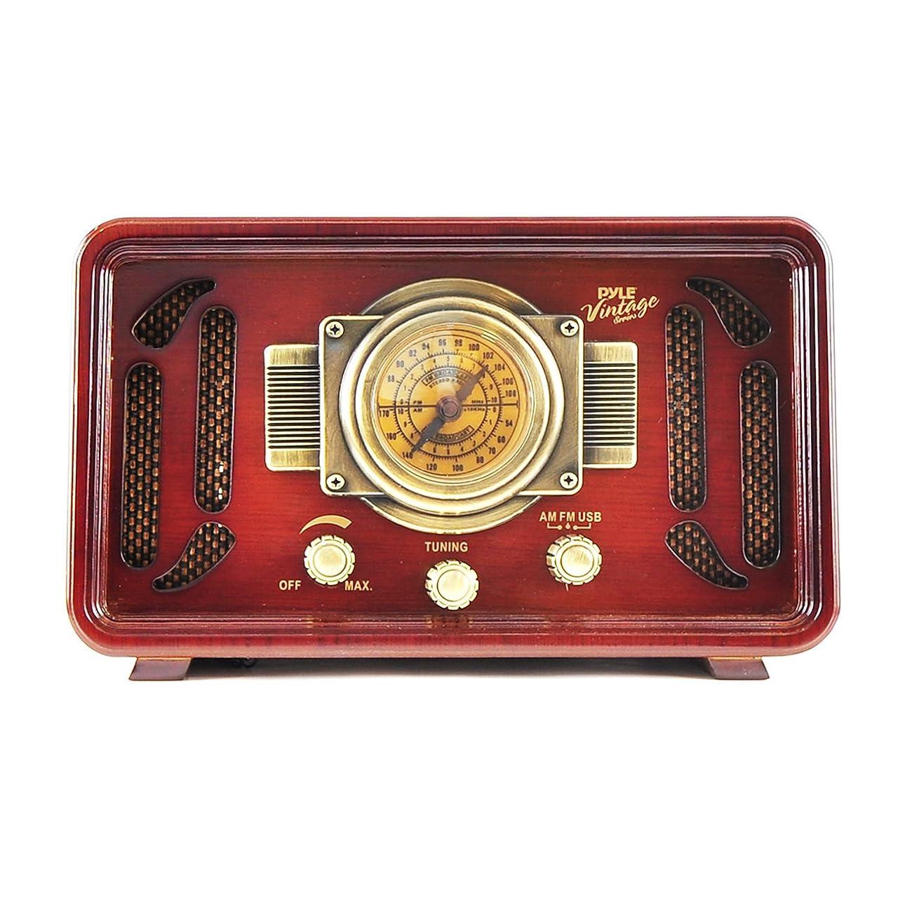 Pyle PUNP34BT Vintage Retro Classic Style Bluetooth Radio Sound System, USB/SD Readers, AM/FM Radio 2