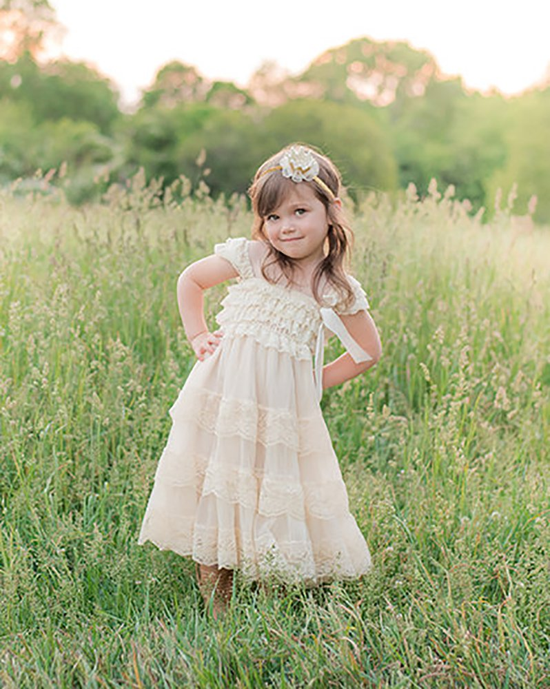 CVERRE lace flower rustic Burlap girl baby country wedding flower dress 1
