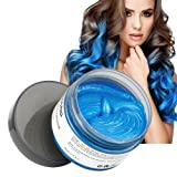 MOFAJANG Hair Color Wax, Instant Blue Hair Color Wax, Temporary Hairstyle Cream 4.23 oz, Hair Pomades, Hairstyle Wax for Men and Women (Blue) (Color: Blue)