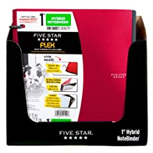 Five Star Flex Hybrid NoteBinder, 1-Inch Capacity, 11.5 x 10.75 x 1.25 Inches, Red (72005)