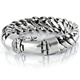 VY Jewelry 925 Sterling Silver Heavy Round Snake Men Bracelet - Made in Thailand - 9.5