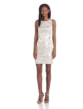 Trina Turk Women's Santorini Sanbar Sequin Jacquard Sleeveless Sheath Dress, Platinum, 4