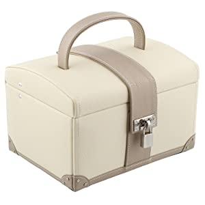 Premium Quality Dulwich Designs Cream & Mink Real Leather Medium Size Jewellery Box   Cannes Collection   70062       Customer review and more information