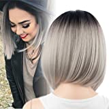 netgo Bob Wig Grey Ombre Wigs Short Straight Synthetic Hair Full Wig for Women (Color: Grey)
