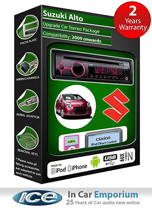 Suzuki Alto Autoradio CD MP3 radio Clarion joue iPod/iPhone/Android