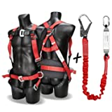 DCM Fall Arest Protection Universal Padded Safety Harness Kit with Shock Absorb Webbing Lanyard (Color: Blacked Red, Tamaño: Standard)