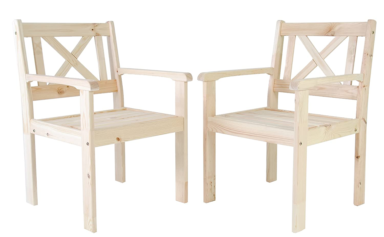 Ambientehome Garten Sessel Stuhl Massivholz Gartenmöbel EVJE, Natur, 2-teiliges Set online kaufen