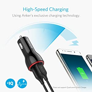 Anker 24W Dual USB Car Charger, PowerDrive 2 for iPhone Xs/XS Max/XR/X / 8/7 / 6 / Plus, iPad Pro/Air 2 / Mini, Note 5/4, LG, Nexus, HTC, and More (Color: Black)