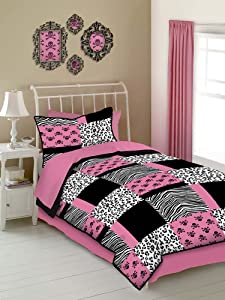 pink and black bedding set with skulls, leopard and zebra prints