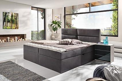 Polsterbett/Stauraumbett mit Bettkasten in 180 x 200 cm bezogen mit einem feinen Webstrukturstoff in anthrazit, inkl. Kaltschaumtopper