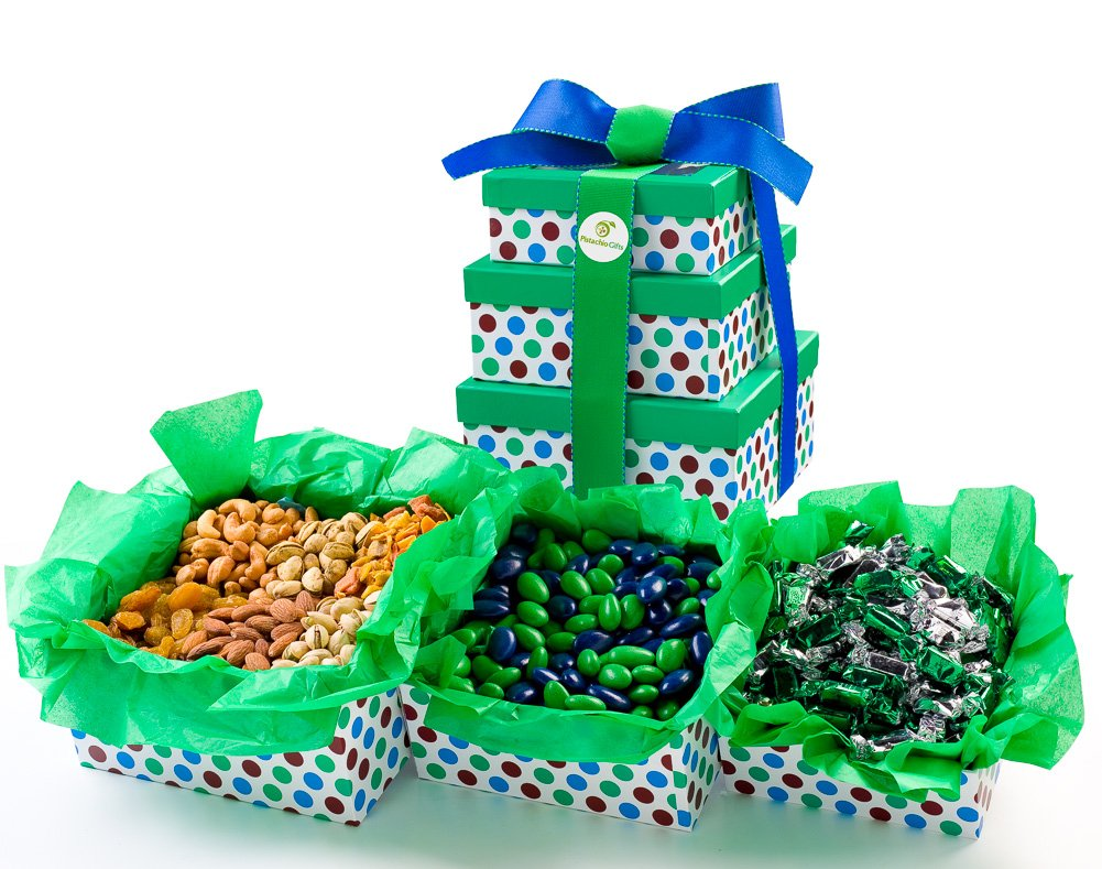 Pistachio Gifts® Candy, Nuts & Dried Fruit Varity Gift Basket Tower, Green & Blue Themed 3 Tier